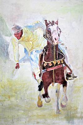 Painting - Tent Pegging Show by Khalid Saeed