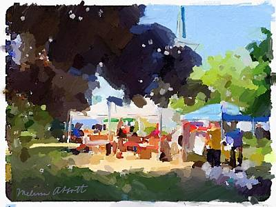 Tents And Church Steeple At Rockport Farmers Market Art Print