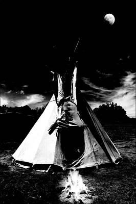 Photograph - Tepee And Fire by Joseph Frank Baraba