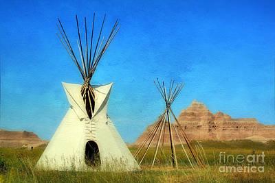 Tepee In Badlands Art Print by Teresa Zieba