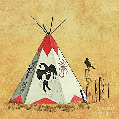 Digital Art - Teepee - Native American Symbols by Gabriele Pomykaj