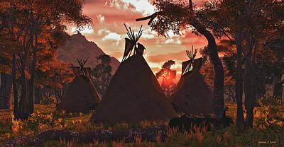 Digital Art - Tepee Sunset by Walter Colvin