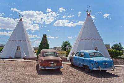 Tepee With Old Cars Art Print by Matthew Bamberg