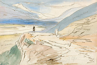 Drawing - Tepelene, 19 April 1857 by Edward Lear