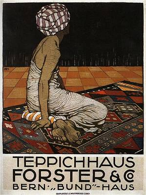 Mixed Media Royalty Free Images - Teppichhaus Forster and Co - Rug, Carpet - Vintage Advertising Poster Royalty-Free Image by Studio Grafiikka