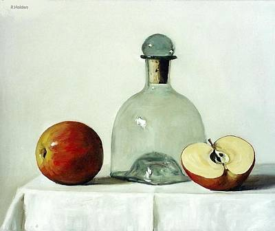 Painting - Tequila Bottle With Apple And A Half by Robert Holden