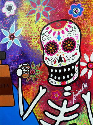 Skulls Painting - Tequila Shot Day Of The Dead by Pristine Cartera Turkus