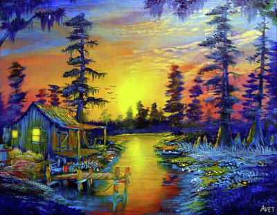 Cypress Swamp Painting - Tequila Sunrise At The Camp by Nicolas Avet