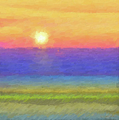Abstract Seascape Digital Art - Tequila Sunrise To Remember by Serge Averbukh