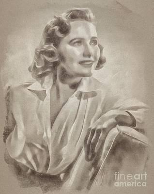 Fantasy Drawings - Teresa Wright Hollywood Actress by John Springfield
