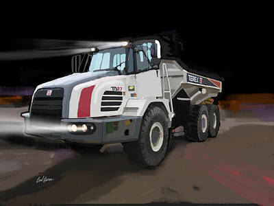 Worker Painting - Terex Ta27 Articulated Dump Truck by Brad Burns