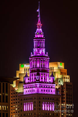 Terminal Tower Tribute To Prince Art Print by Frank Cramer