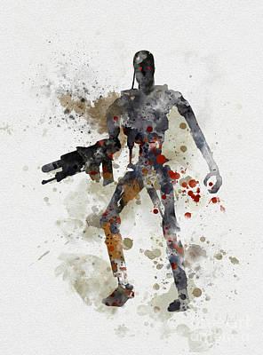 Film Mixed Media - Terminator Endoskeleton by Rebecca Jenkins