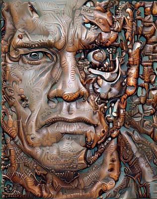 Digital Art - Terminator On Wood by Yury Malkov