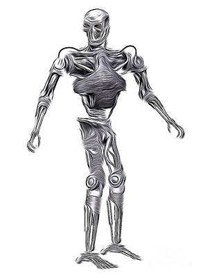 Science Fiction Royalty-Free and Rights-Managed Images - Terminator Robot, Digital Art by MB by Mary Bassett