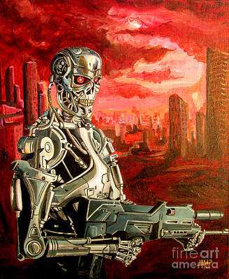 Arnold Schwarzenegger Painting - Terminator T800 by Jose Mendez