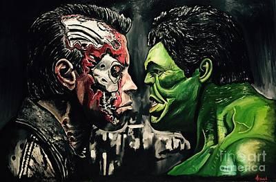 The Terminator Painting - Terminator Vs Hulk by Michael Iglesias