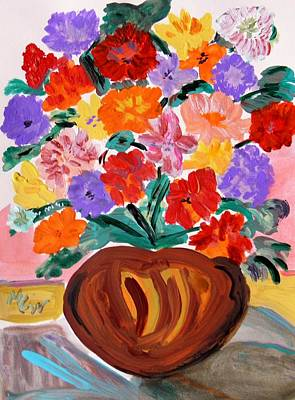 Terra Cotta And Mixed Bouquet Art Print by Mary Carol Williams