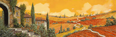 Village Scene Painting - terra di Siena by Guido Borelli