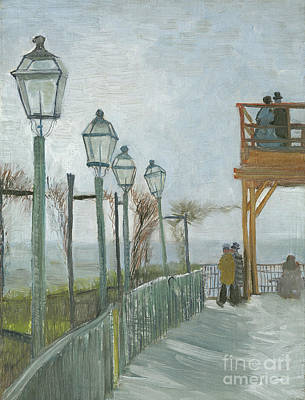 Terrace And Observation Deck At The Moulin De Blute Fin Art Print by Vincent Van Gogh