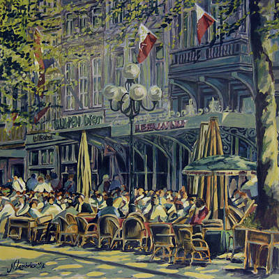 Terrace At The Vrijthof In Maastricht Art Print by Nop Briex