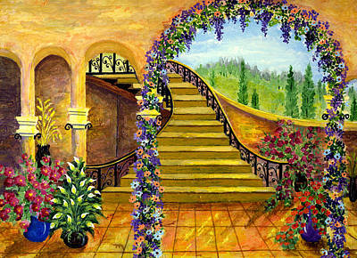 Staircase Painting - Terrace Garden by Bonnie Cook