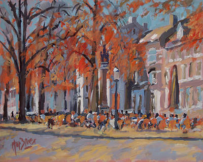Painting - Terrace In The Grand Tanners Street Maastricht by Nop Briex