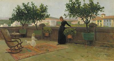 Painting - Terrace by Joaquim Vayreda