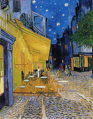 Streetscape Painting - Terrace Of A Cafe At Night, Place Du Forum by Vincent van Gogh