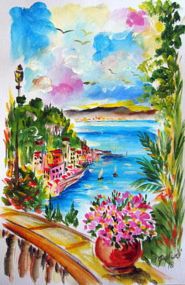 Painting - Terrace On  The Amalfi Gulf by Roberto Gagliardi