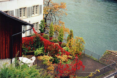 Limmat Photograph - Terrace Overlooking The Limmat River In Zurich Switzerland by Susanne Van Hulst