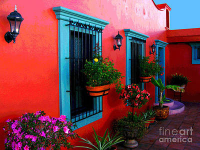Terrace Windows At Casa De Leyendas By Darian Day Art Print by Mexicolors Art Photography