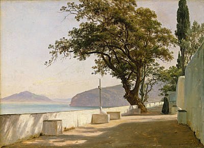 Fearnley Painting - Terrace With Oak. Sorrento  by Thomas Fearnley