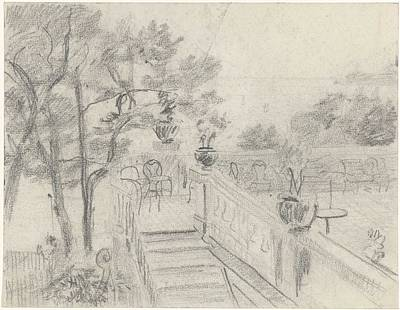 Animals Royalty-Free and Rights-Managed Images - Terrace with stairs to a garden, Carel Adolph Lion Cachet, 1874 - 1945 by Carel Adolph Lion Cachet