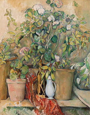 Photograph - Terracotta Pots And Flowers by Paul Cezanne