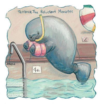 Pastel - Terrance The Reluctant Manatee by Athena Lutton