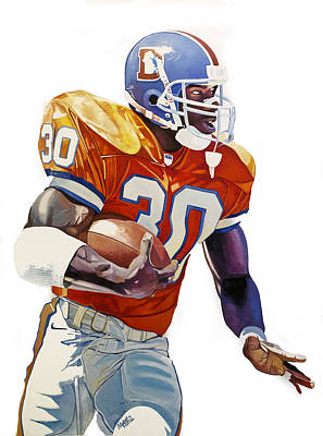 Terrell Davis - Denver Broncos  Print by Michael Pattison