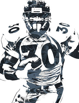 Terrell Mixed Media - Terrell Davis Denver Broncos Pixel Art by Joe Hamilton
