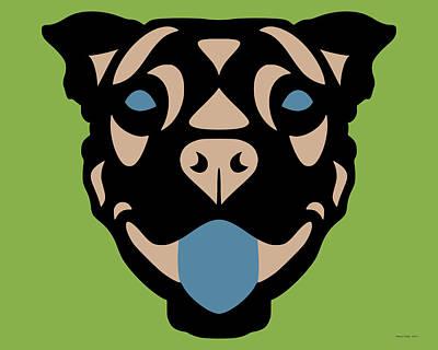 Terrier Terry - Dog Design - Greenery, Hazelnut, Niagara Blue Art Print by Manuel Sueess