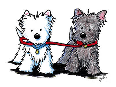 Westie Dog Drawing - Terrier Walking Buddies by Kim Niles