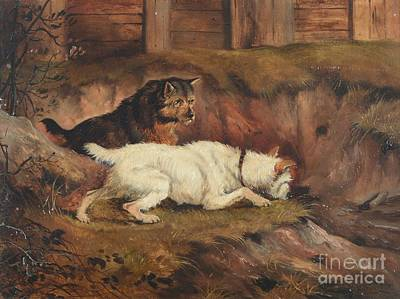 Alfred Wheeler Painting - Terriers Ratting by MotionAge Designs
