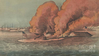 Painting - Terrific Combat Between The Monitor And Merrimac At Hampton Roads, 1862 by Currier and Ives