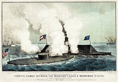 Us Navy Drawing - Terrific Combat Between The Monitor And The Merrimac by Currier and Ives