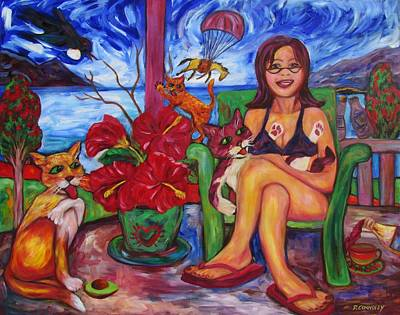 Painting - Terrorist Tui And Too Comfy Cats by Dianne  Connolly