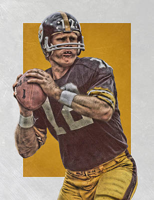 Mixed Media - Terry Bradshaw Pittsburgh Steelers Art by Joe Hamilton