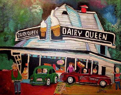 Painting - Terry's Dairy Queen Sherbrooke by Michael Litvack