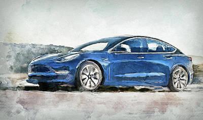 Digital Art - Tesla 3 Car Painting by Yury Malkov