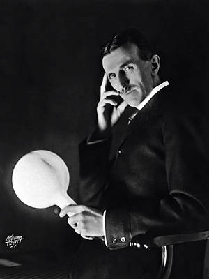 Tesla And Wireless Light Bulb Art Print by Daniel Hagerman