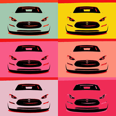Mixed Media - Tesla Car Pop Art by Dan Sproul
