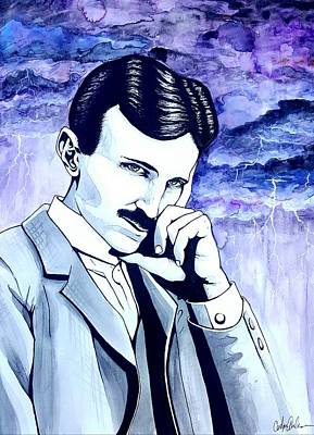Ac - Dc Painting - Tesla by Carolyn Anderson